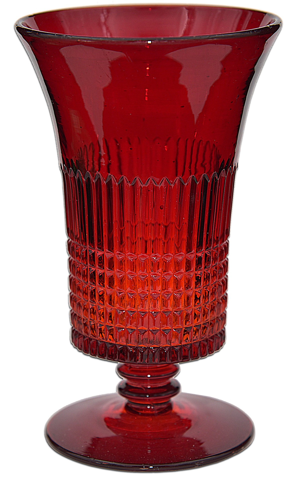 Fenton Ruby Lincoln Inn (1700 Line) Footed Ice Tea Tumbler