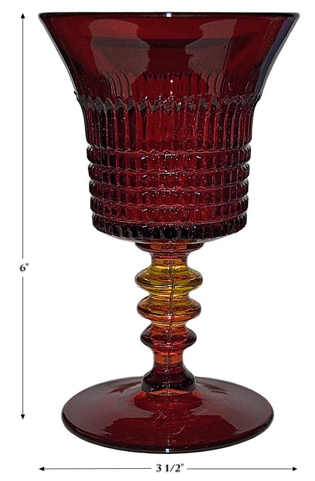 Fenton Ruby Lincoln Inn (1700 Line) Water Goblet
