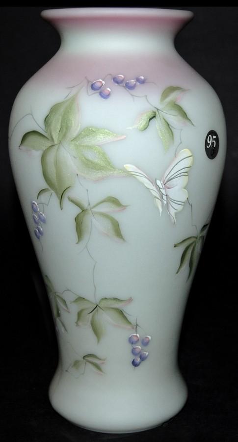 Fenton Butterfly and Berry Lotus Mist HP N. Fenton Burmese Vase