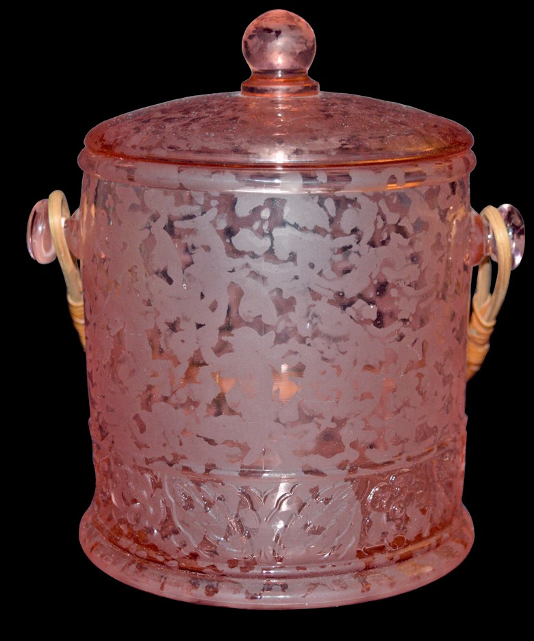 Fenton Ming Etch PInk Satin #1684 Macaroon / Cookie Jar with Lid