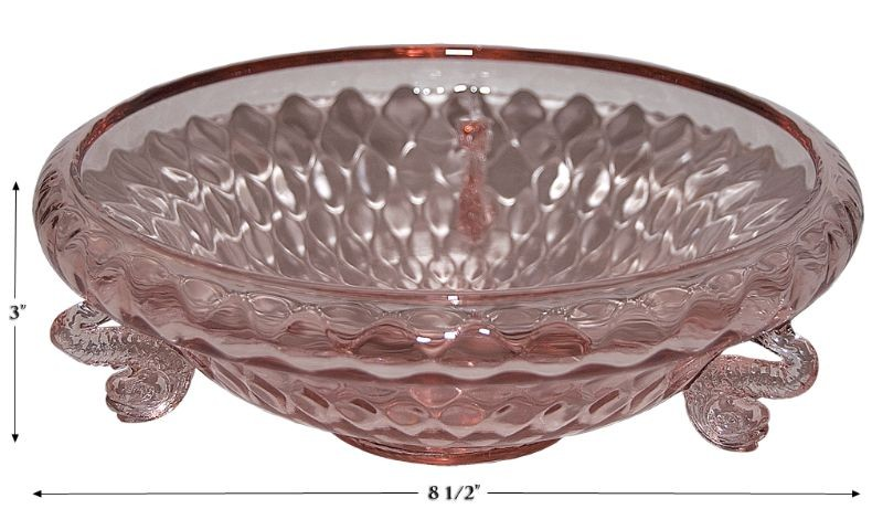 Fenton Diamond Optic / Dolphin Rose #1502 Cupped Bowl