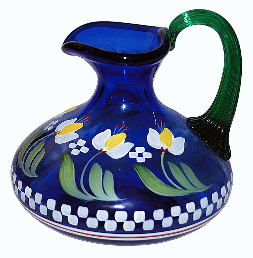 Fenton QVC Designer Series Cobalt Blue Jug with Tulips Bill Fenton Signature