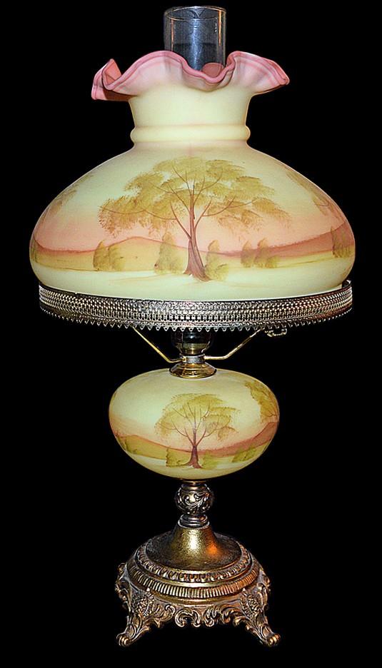 Fenton Scenic Hand Painted Burmese #7411 Large Student Lamp