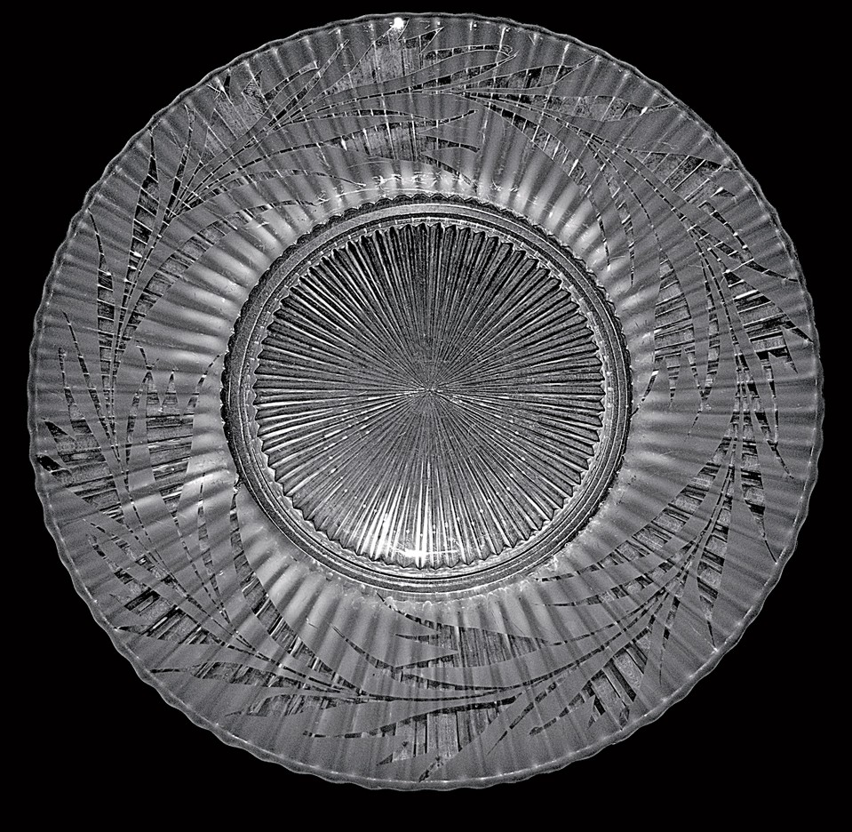 "Fenton Silvertone Etch Crystal Satin Sheffield Early 1930s 9 1/2"" Dinner Plate"