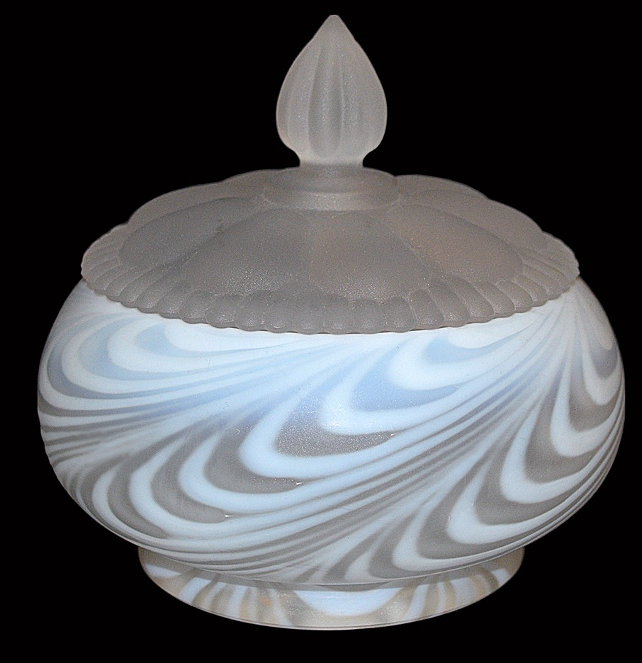 Fenton Swirled Feather French Opalescent Satin #2083 Candy Dish