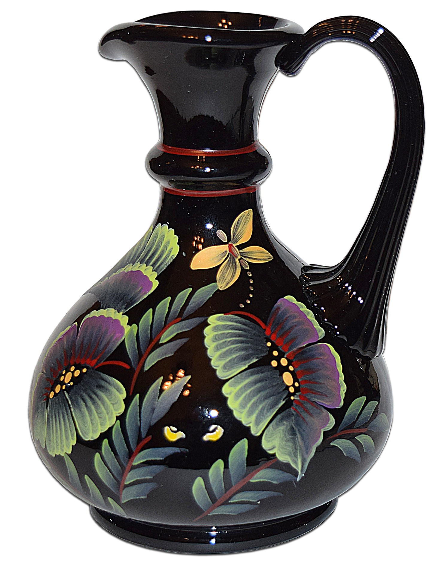 "Fenton Black #1862 Tropical Forest Safari Collection 7"" Pitcher / Jug"