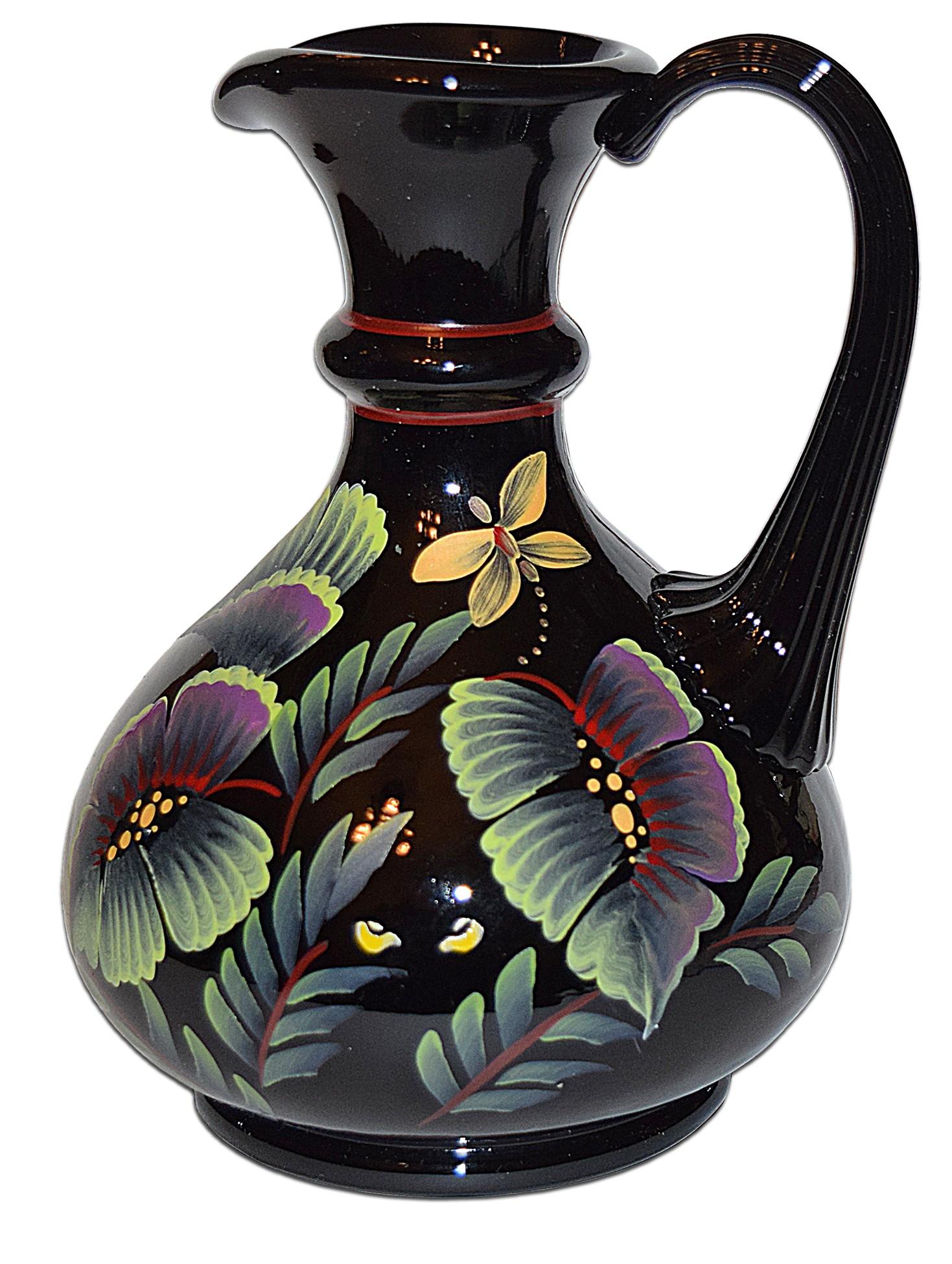 "Fenton Black #1862 Tropical Forest Safari Collection 7"" Pitcher / Jug"