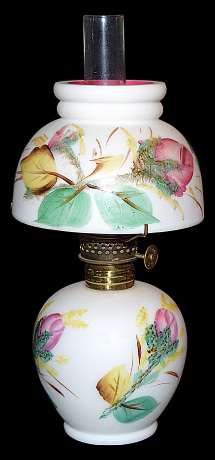 LG Wright / Fenton Glass Miniature Moss Rose Lamp