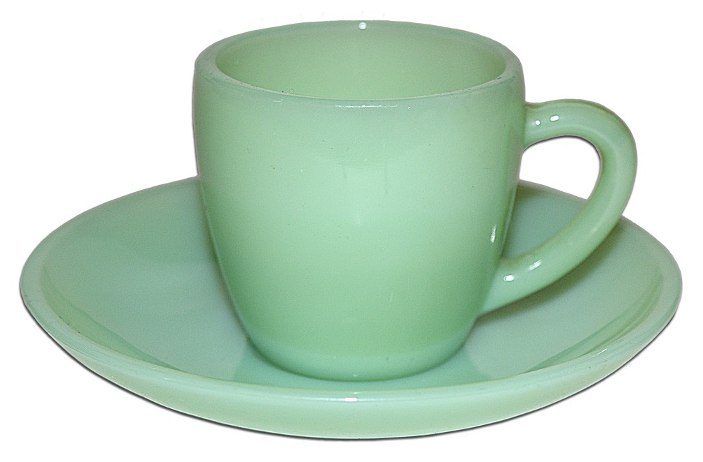 Hocking Fireking Jade-ite / Jadite Scarce Restaurant Demitasse Cup and Saucer SOLD
