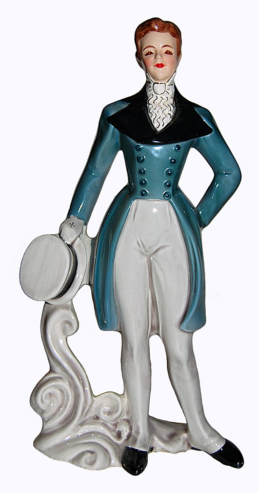 "Florence Ceramics RARE ""Peter"" Turquoise Tuxedo and Hat"