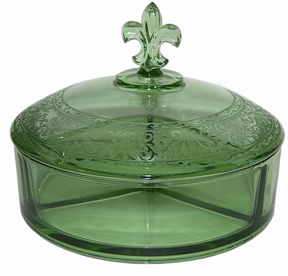 Fostoria Royal Green #2331 Flat Divided Candy Dish and Cover