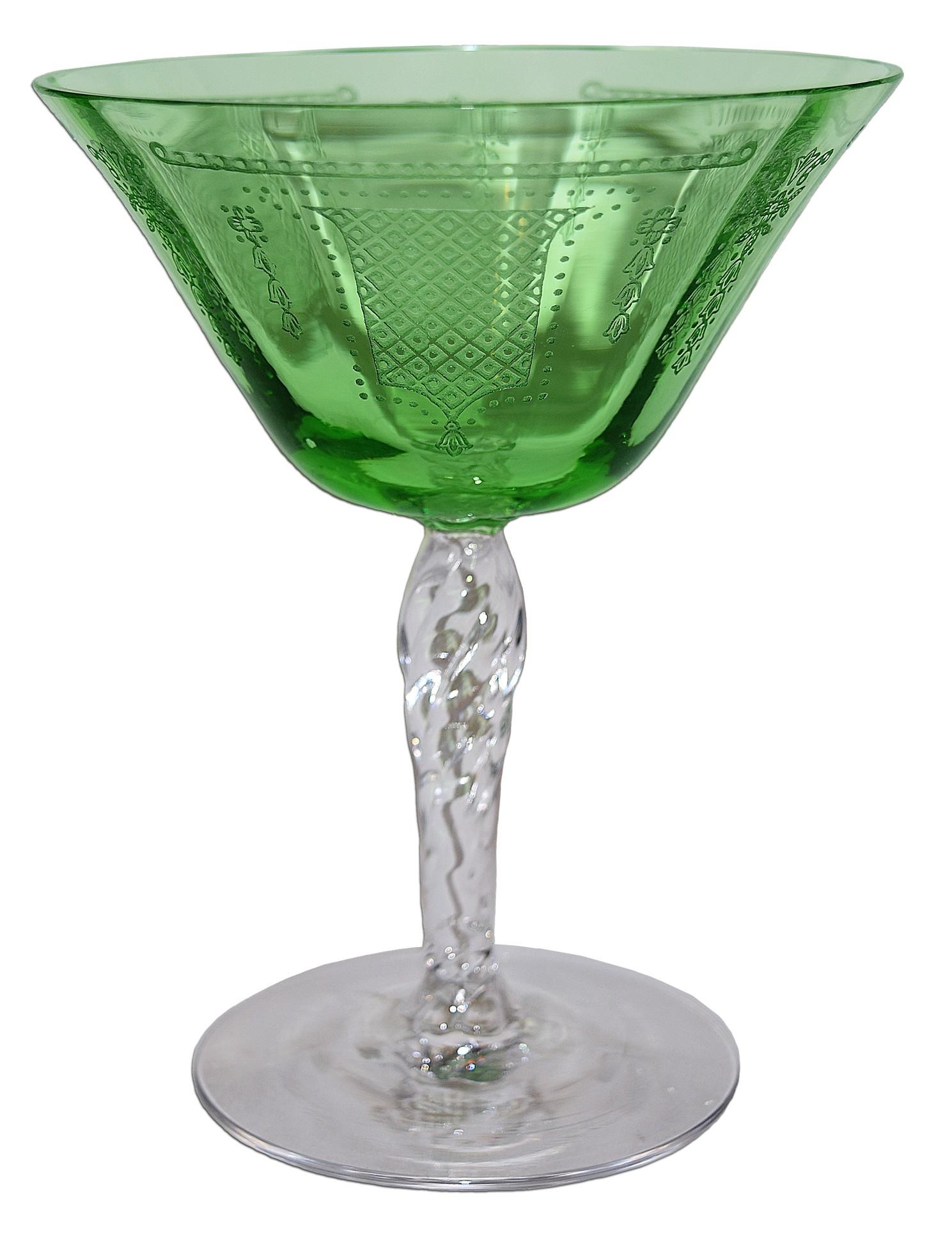 Fostoria Beverly Green #5097 High Sherbet / Champagne Sherbet