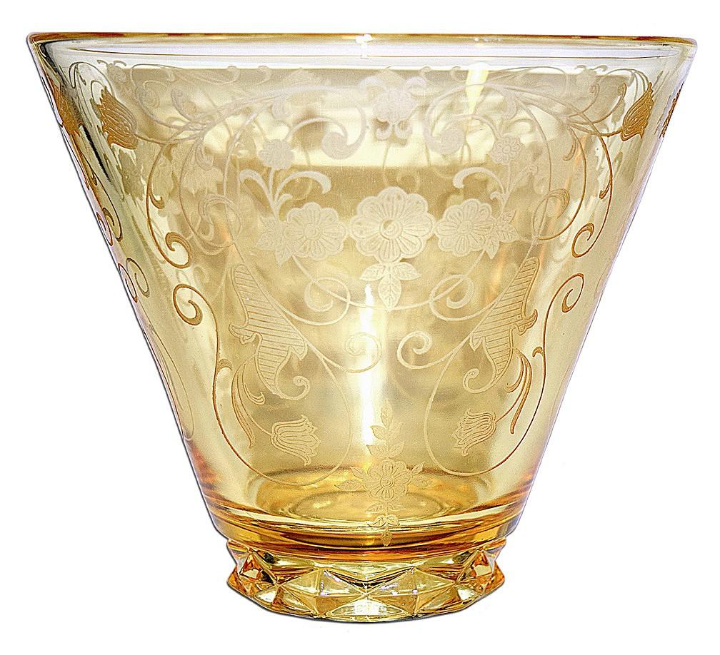 Fostoria Minuet Topaz (yellow) #2430 Large Vase