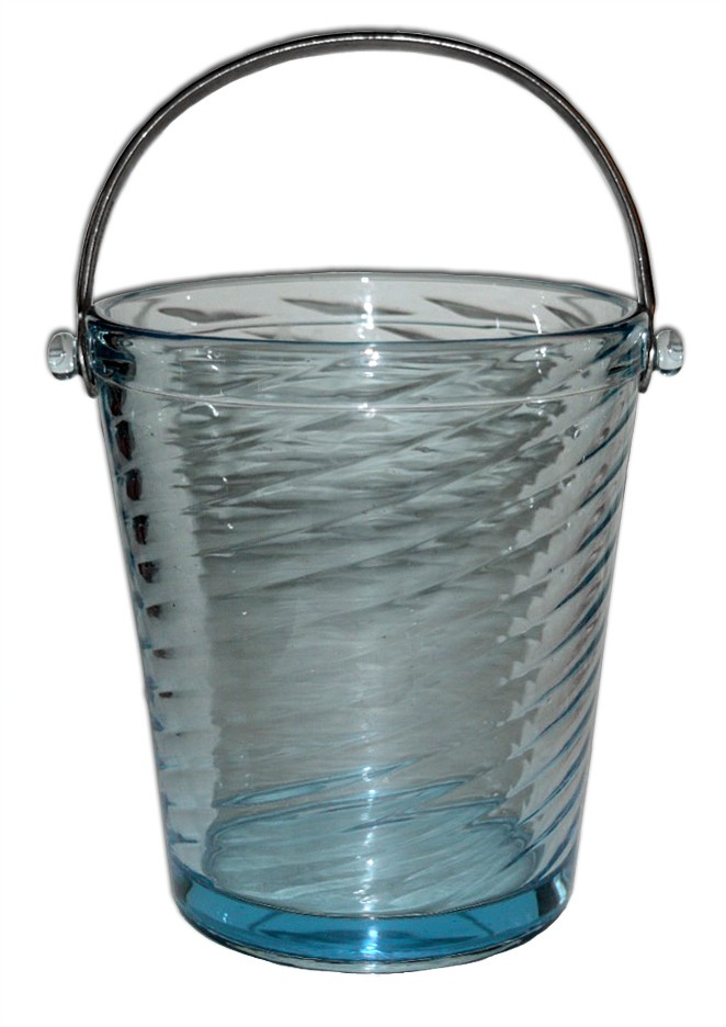 Fostoria Spiral Optic # 2378 Azure Blue Ice Bucket With Metal Handle