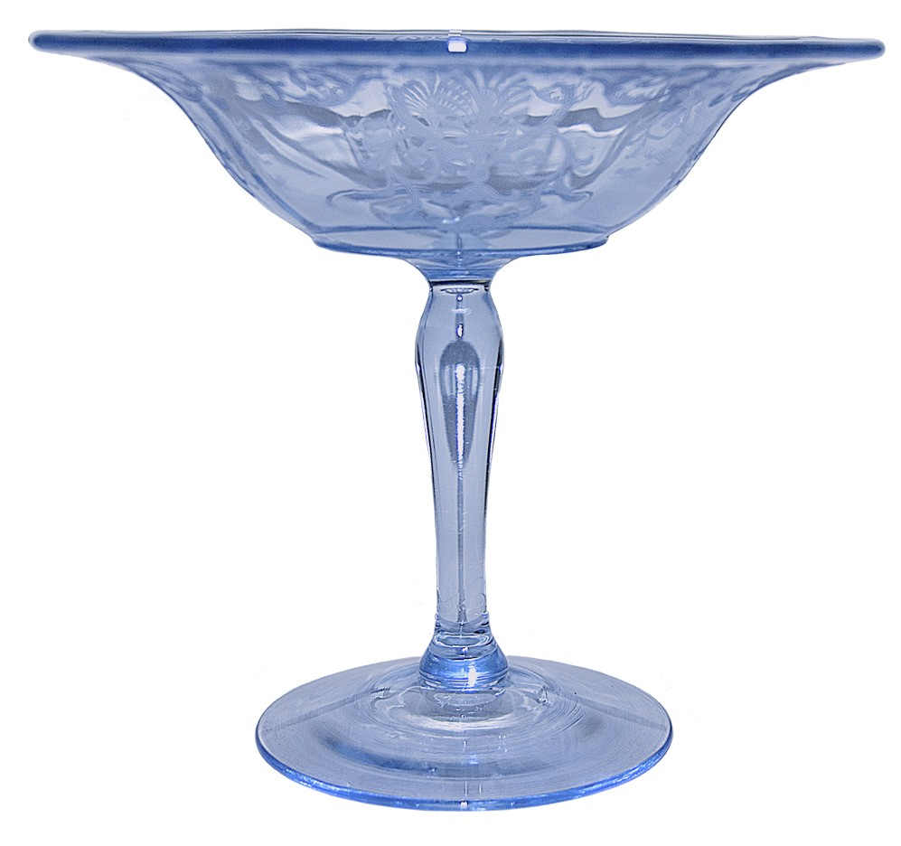 "Fostoria Versailles Blue #2375-7"" Footed Compote"