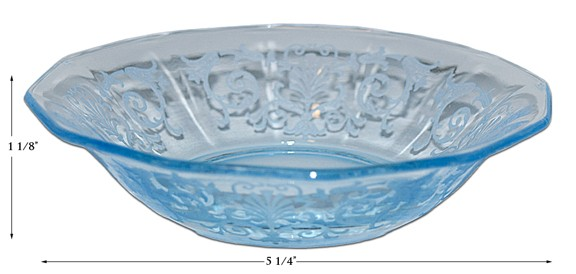 "Fostoria Versailles Blue #2375 - 5 1/4"" Small Berry / Fruit Bowl"