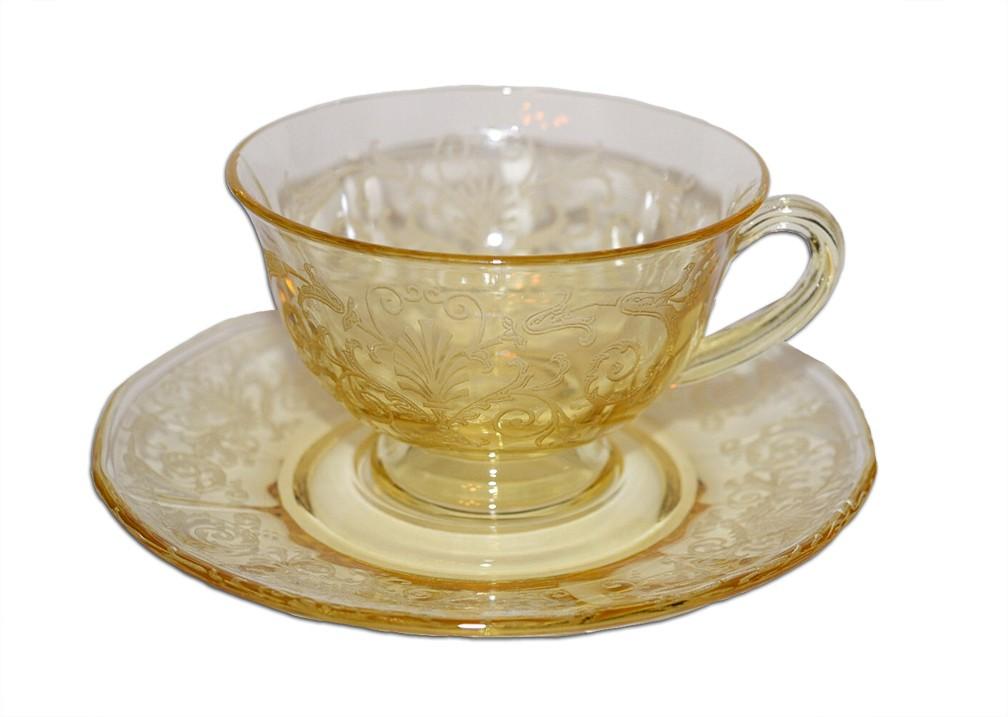 Fostoria Versailles Topaz / Yellow #2375 Cup and Saucer