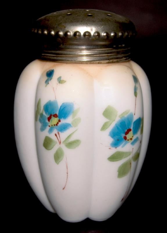 Gillinder & Sons Late 1890's (1895)  Hand Painted Opal Satin Sugar Shaker / Muffineer