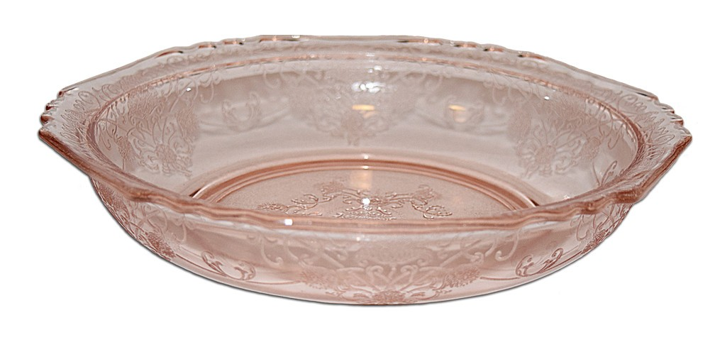"Hazel Atlas Florentine No. 1 Pink 8 1/2"" Large Round Berry / Vegetable  Bowl"