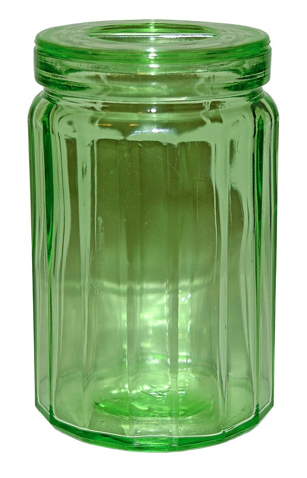 "Hazel Atlas Small Green 4 1/2"" Paneled Canister RARE SIZE"
