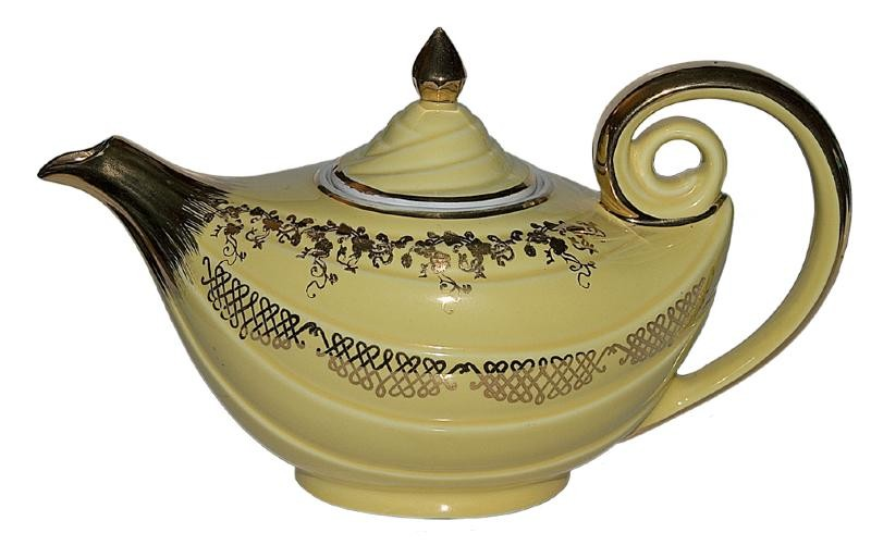Hall China Aladdin Daffodil Squiggle Teapot