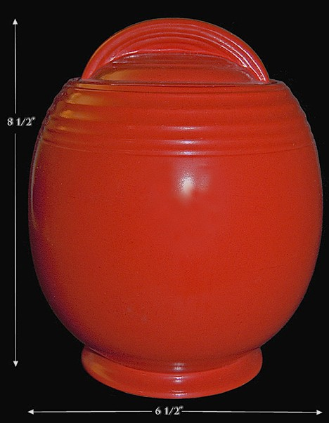 Hall China 5 Band Chinese Red Cookie Jar - GREAT GLAZE!