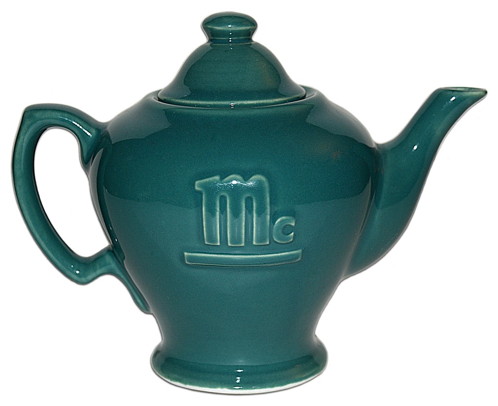 Hall China McCormick Embossed Turquoise Two Cup Teapot