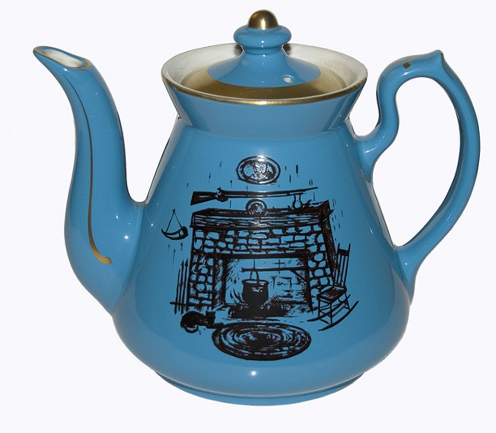 Hall China Philadelphia Blue with Black Hearth Decorated Teapot