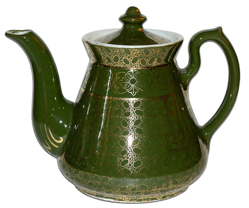 Hall China Philadelphia Stock Green Teapot with Gold Bubble Decoration
