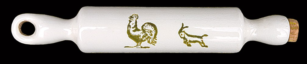 Harker Child's SIZE Gold Decorated Farm Animals Rolling Pin / Horse, Rooster, Goat DONE