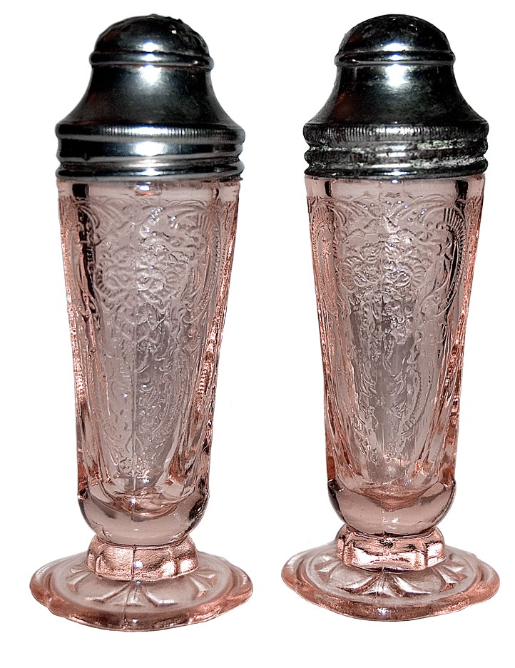 Hazel Atlas Royal Lace Pink Salt and Pepper Shakers