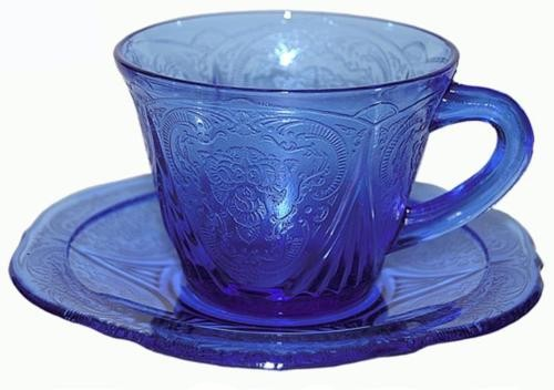 Hazel Atlas Royal Lace Cobalt Cup and Saucer