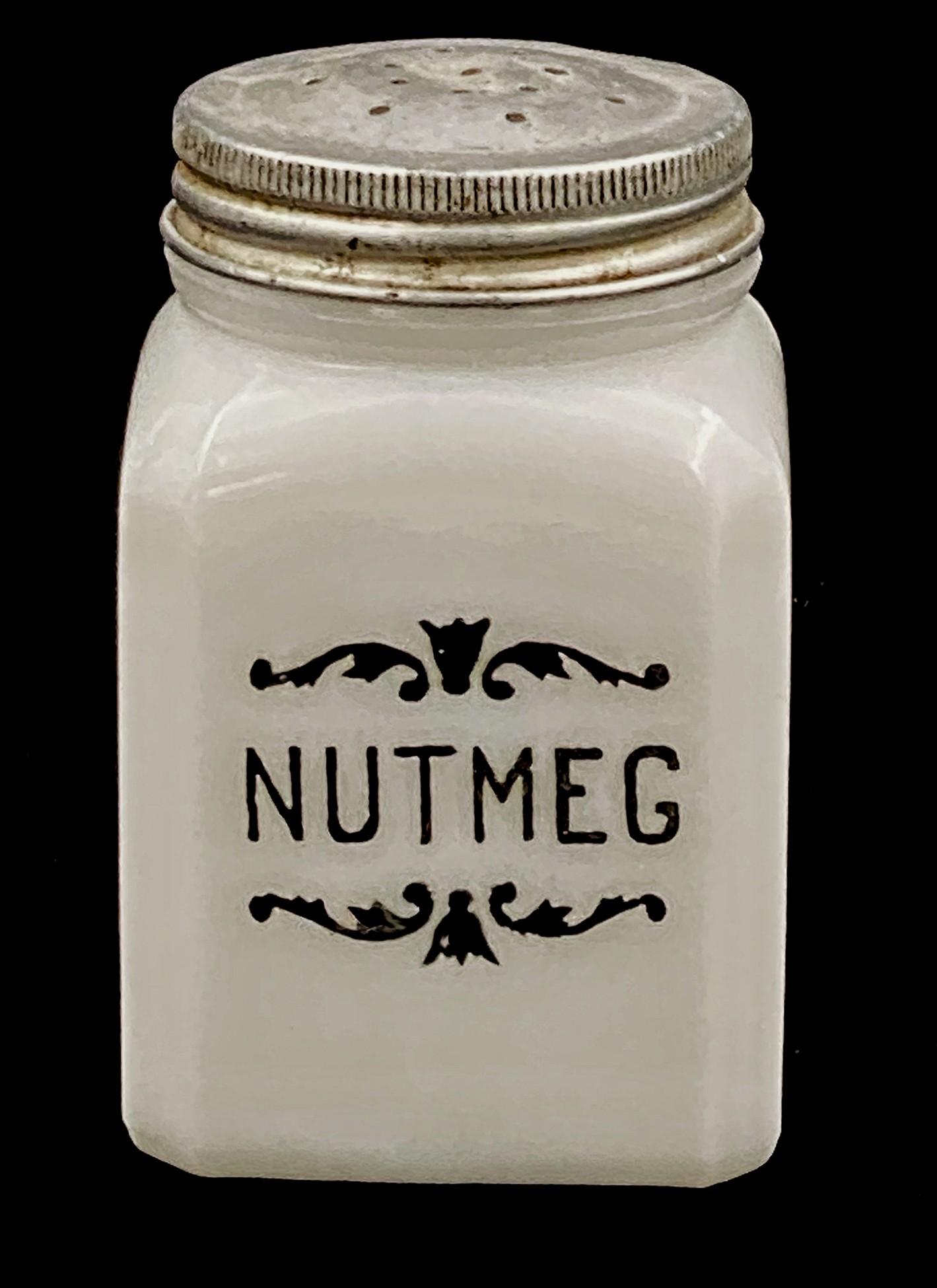 Hazel Atlas White Milk Glass Scroll Motif Nutmeg Shaker