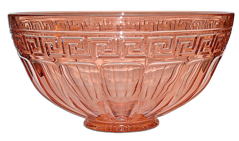 Heisey Flamingo (pink) #433 GREEK KEY / Grecian Border Large Punch Bowl - SCARCE!
