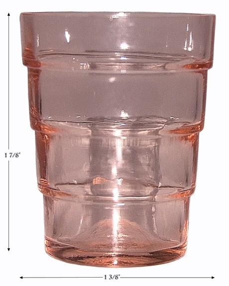"""Hocking Block Optic Pink RARE 1 7/8"""" Whiskey / Shot Glass / Tumbler"""