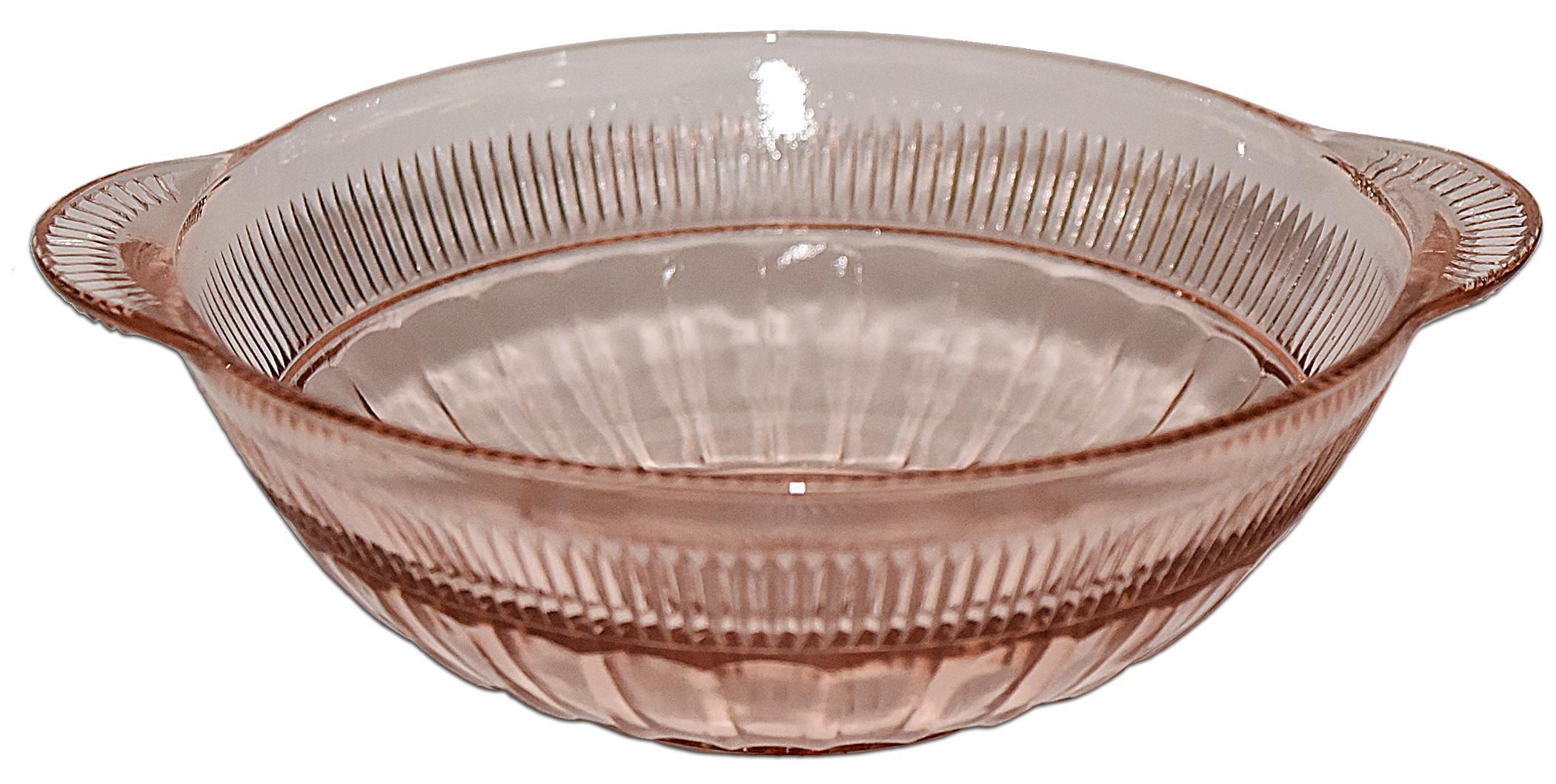 """Hocking Coronation 6 3/4"""" Pink Handled Nappy Bowl"""