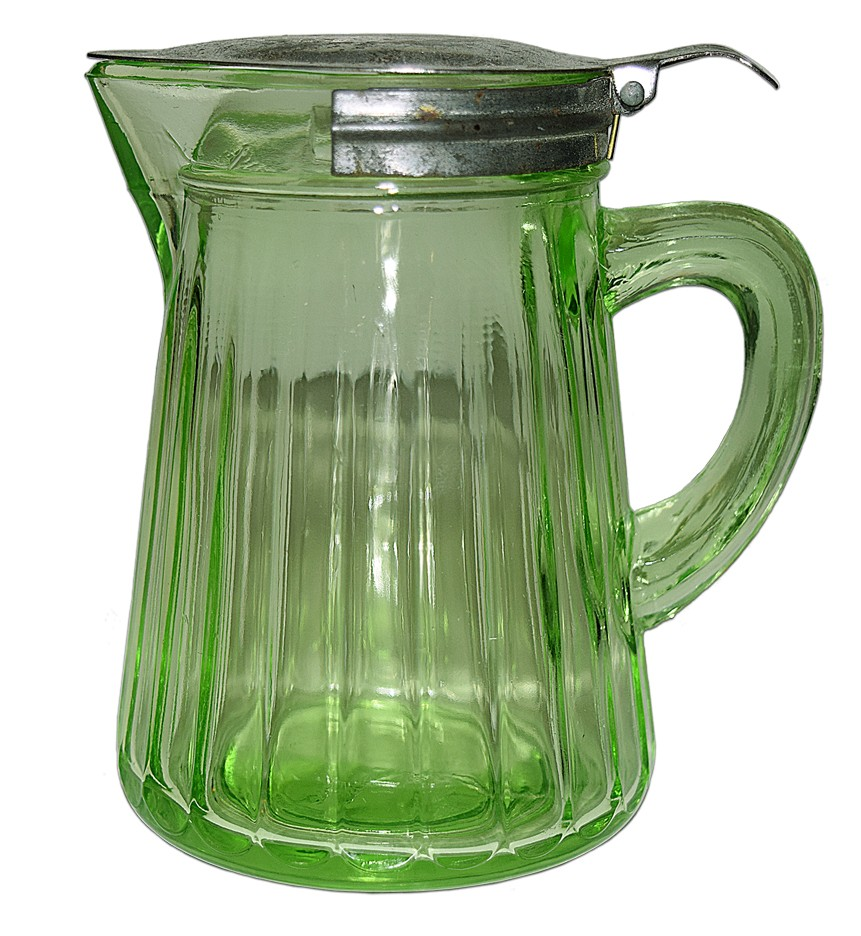 Hocking Green Paneled Vintage Syrup Jug / Pitcher
