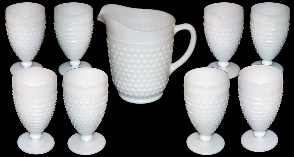 Hocking Hobnail White Milk Glass Pitcher and Tumbler Set SOLD