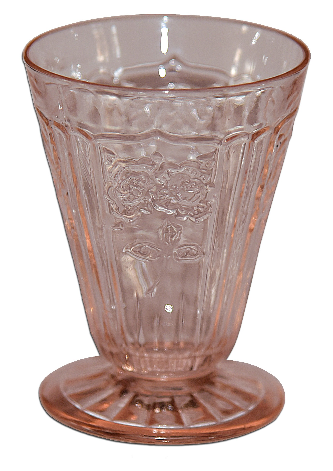 Hocking Mayfair Pink Footed Juice Tumbler - Rayed Foot