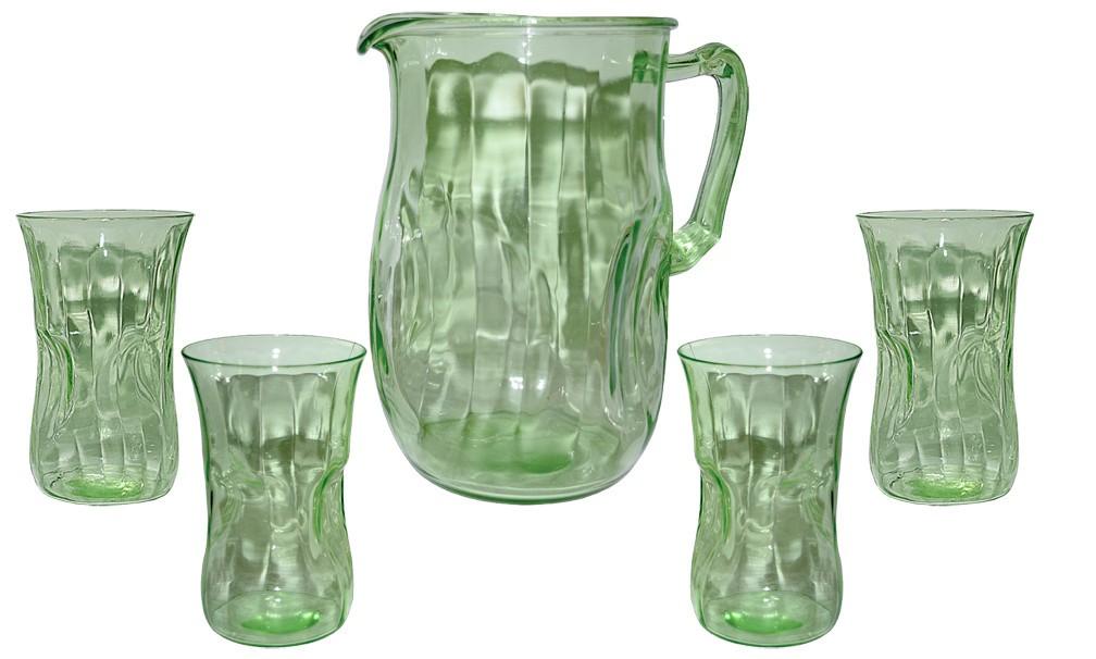 Hocking Pinch Green Depression Glass Kitchen Pitcher & 4 Tumblers