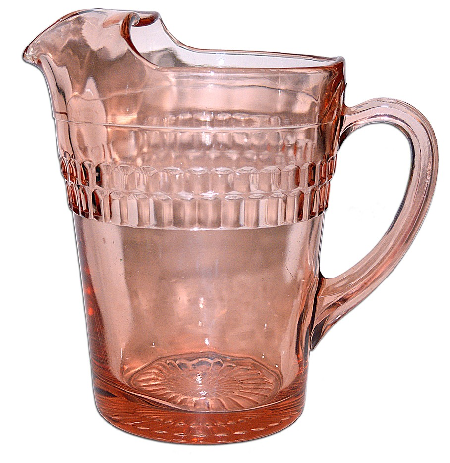 Hocking Roulette Pink Ice Lip Pitcher / Jug