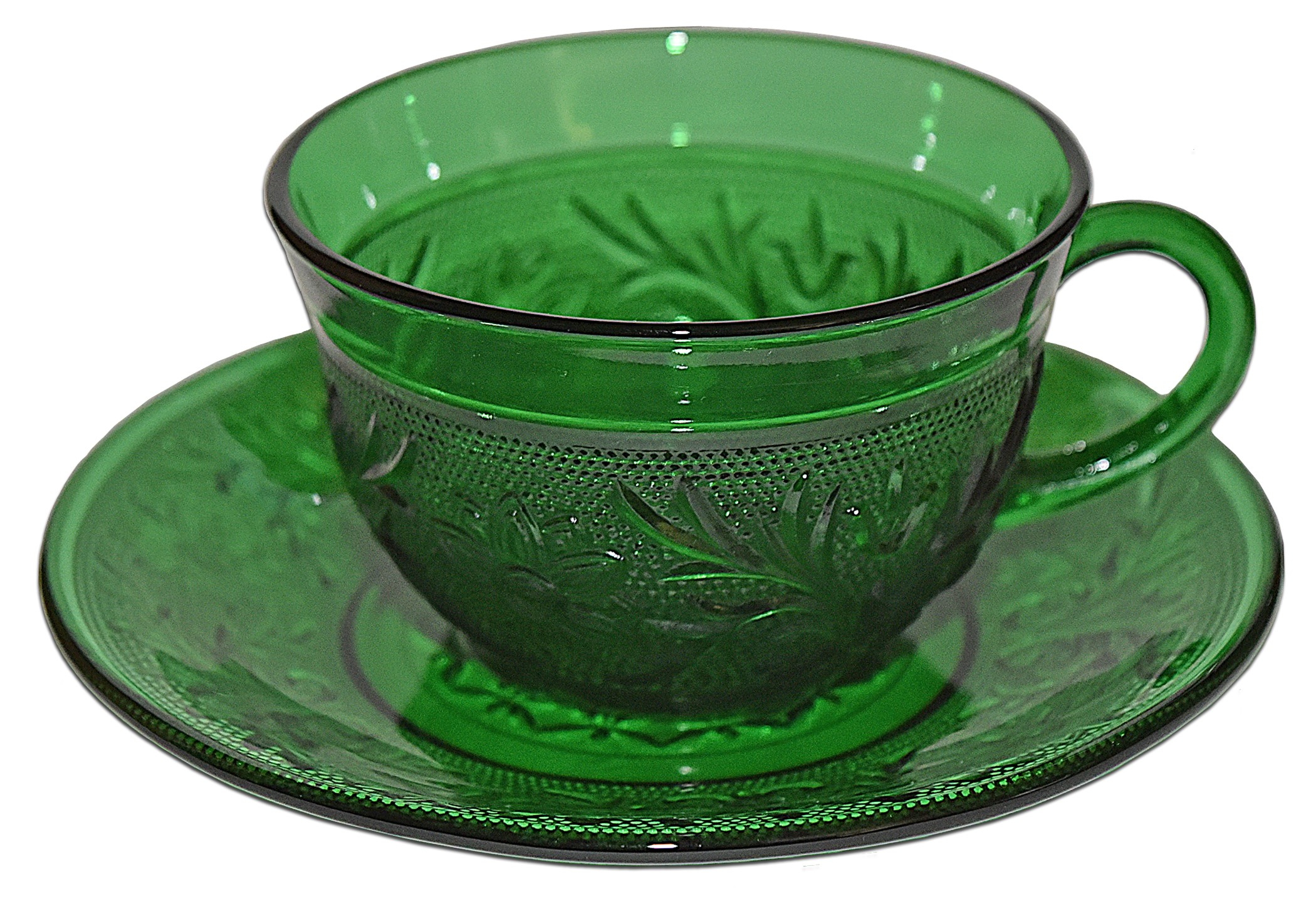 Hocking Sandwich Forest Green Cup and Saucer
