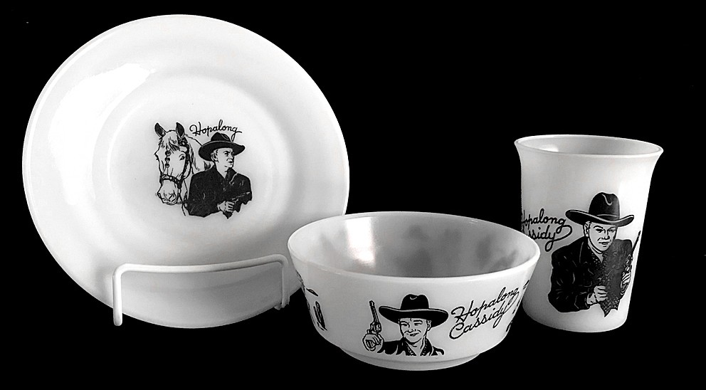 Hazel Atlas White Milk Glass Hopalong Cassidy Child's Plate, Tumbler, with Scarce Bowl