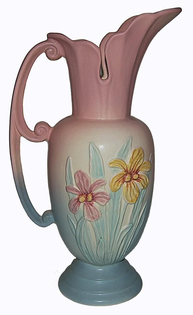 """Hull Pottery Iris Pink 13 1/2"""" Large Ewer / Jug - BEAUTIFUL CONDITION"""