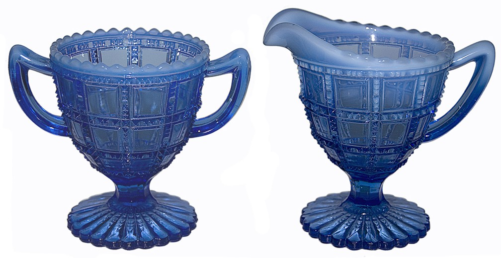 Imperial Beaded Block Blue Opalescent Footed Sugar and Creamer Set