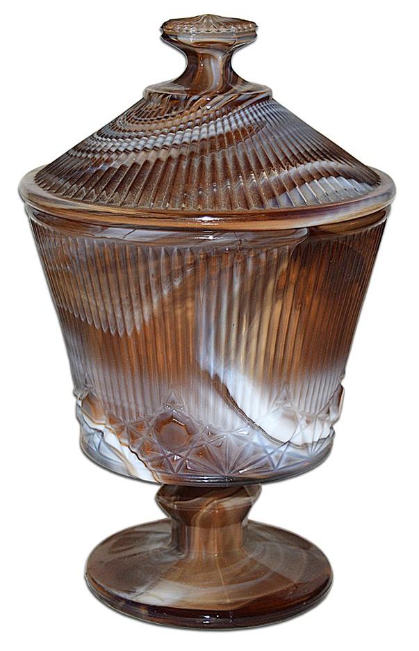 """Imperial Caramel Slag """"Whiskbroom"""" #611 Large Covered Candy / Jar"""