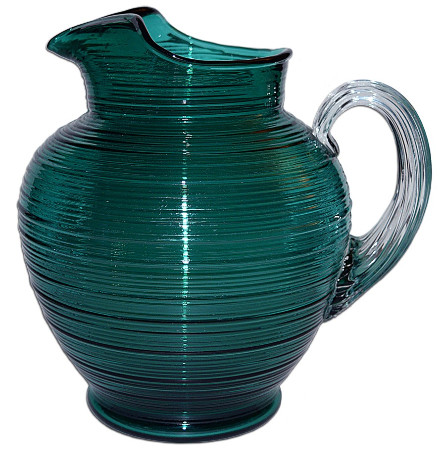 Imperial  Reeded / Spun Stiegel Green 80 oz. Ice Lip  Pitcher SOLD