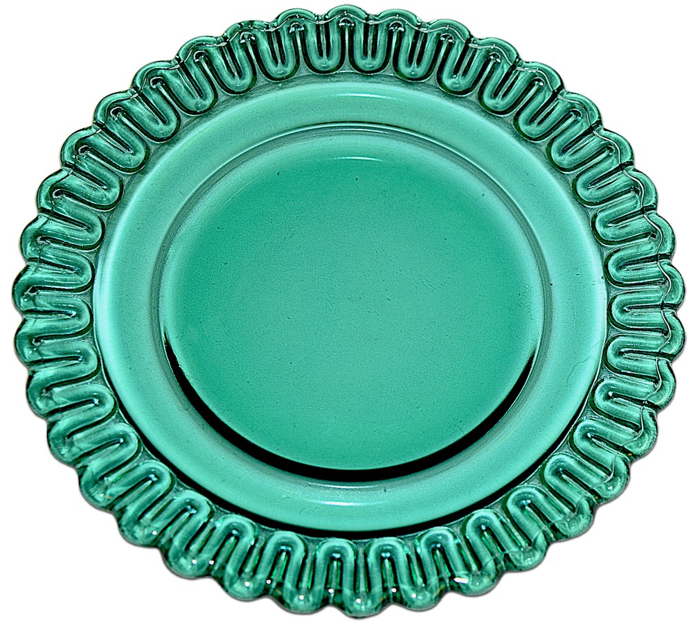 """Indiana Depression Terrace Green (Teal) Christmas Candy 6"""" Bread and Butter Plate"""