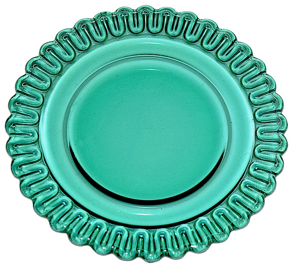 Indiana Depression Terrace Green (Teal) Christmas Candy Luncheon Plate