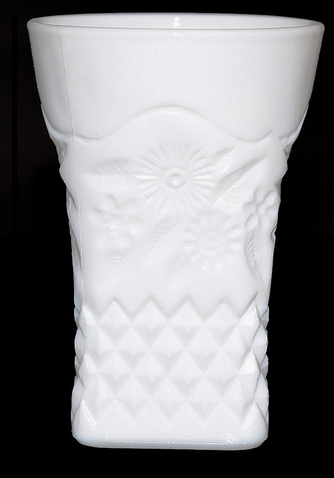 Indiana Pineapple and Floral White Milk Glass Tumbler